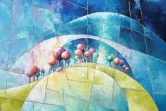 Art, arte, painting, abstrait, peinture, toile, Landscape, architecture, figuratif, floral, paysage, art print, nature, houses, village, landscape and trees by night, 100x100cm, huile  sur toile
