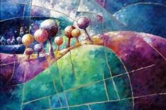 Art, arte, painting, abstrait, peinture, toile, Landscape, architecture, figuratif, floral, paysage, art print, nature, houses, village, landscape and trees in purple, 73x73cm, huile  sur toile