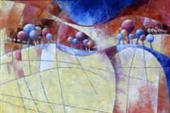 Art, arte, painting, abstrait, peinture, toile, Landscape, architecture, figuratif, floral, paysage, art print, nature, houses, village, landscape and trees in yellow, 100x100cm, huile  sur toile