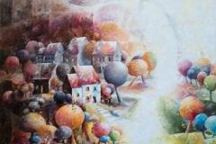 Art, arte, painting, cubisme, peinture, toile, Landscape, architecture, figuratif, floral, paysage, fauvisme, nature, houses, village,  Au delà de tes rêves, 95x95cm, huile sur toile