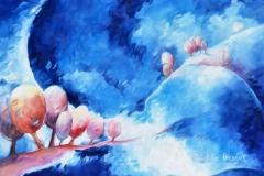 Art, arte, painting, surrealisme, peinture, toile, Landscape, architecture, cosmos, ciel, paysage, naif, nature, houses, village, chemin de lune, 50x50cm, huile sur toile