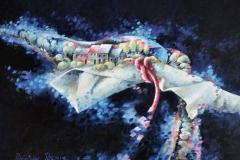 Art, arte, painting, surrealisme, peinture, toile, Landscape, architecture, cosmos, ciel, paysage, naif, nature, houses, village, les couleurs de l'espace, 100x75cm, huile sur toile