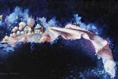 Art, arte, painting, surrealisme, peinture, toile, Landscape, architecture, cosmos, ciel, paysage, naif, nature, houses, village, soieries cosmiques, 110x65cm, huile sur toile