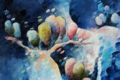 Art, arte, painting, surrealisme, peinture, toile, Landscape, architecture, cosmos, ciel, paysage, naif, nature, houses, village, voyage, 30x60cm, huile sur toile