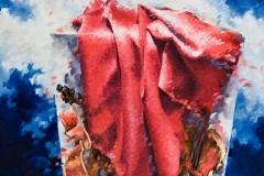 Art, arte, painting, surrealisme, peinture, toile, Landscape, architecture, cosmos, ciel, paysage, naif, nature, musique, violon, effervescence, 75x110cm, huile sur toile