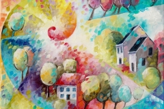 Art, arte, figuratif, canvas, peinture, toile, Landscape, architecture, abstrait, floral, paysage, art prints, nature, houses, village, dreamscape, coloré, spirale, 18x24cm, huile sur toile