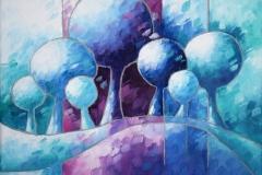 Art, arte, figuratif, canvas, peinture, toile, Landscape, architecture, abstrait, floral, paysage, art prints, nature, houses, village, dreamscape, colorf, rêves bleus, 18x24cm, huile sur toile