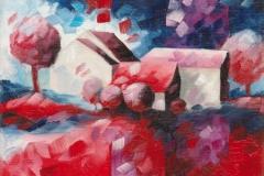 Art, arte, figuratif, canvas, peinture, toile, Landscape, architecture, abstrait, floral, paysage, art prints, nature, houses, village, dreamscape, colorf, rouge, 18x24cm, huile sur toile