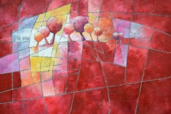 Art, arte, painting, abstrait, peinture, toile, Landscape, architecture, figuratif, floral, paysage, art print, nature, houses, village, landscape and trees in red, 50x50cm, huile  sur toile