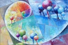 Art, arte, painting, abstrait, peinture, toile, Landscape, architecture, figuratif, floral, paysage, art print, nature, houses, village, spirale alchimique, 50x50cm, huile sur toile