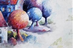 Art, arte, painting, canvas, peinture, toile, Landscape, architecture, Impressionism, floral, paysage, art print, nature, houses, village, dreamscape, colorf, harmonie, 30x30cm, huile sur toile