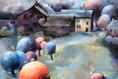Art, arte, painting, canvas, peinture, toile, Landscape, architecture, Impressionism, floral, paysage, art print, nature, houses, village, dreamscape, colorf, les soirs bleus, 45x70, huile sur toile