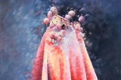 Art, arte, painting, surrealisme, peinture, toile, Landscape, architecture, cosmos, ciel, paysage, naif, nature, village, drapé, fascination, 60x120cm, huile sur toile