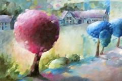 Art, figuratif, canvas, peinture, toile, Landscape, architecture, abstrait, floral, paysage, art prints, nature, houses, village, dreamscape, promenade sur le chemin, 40x40cm, huile sur toile