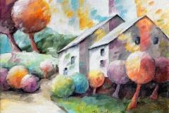 Art, figuratif, canvas, peinture, toile, Landscape, architecture, abstrait, floral, paysage, nature, houses, village, dreamscape, coloré, countryside landscape, 18x24cm, huile sur toile