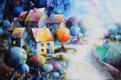 Art, figuratif, canvas, peinture, toile, architecture, abstrait, floral, paysage, nature, houses, village, dreamscape, promenade, nous sommes notre propre histoire 57x65cm, huile sur toile