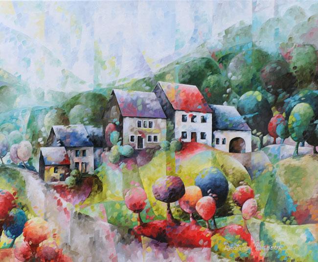 paysage-de-mon-enfance-peinture-huile-maisons-houses-arbres-trees