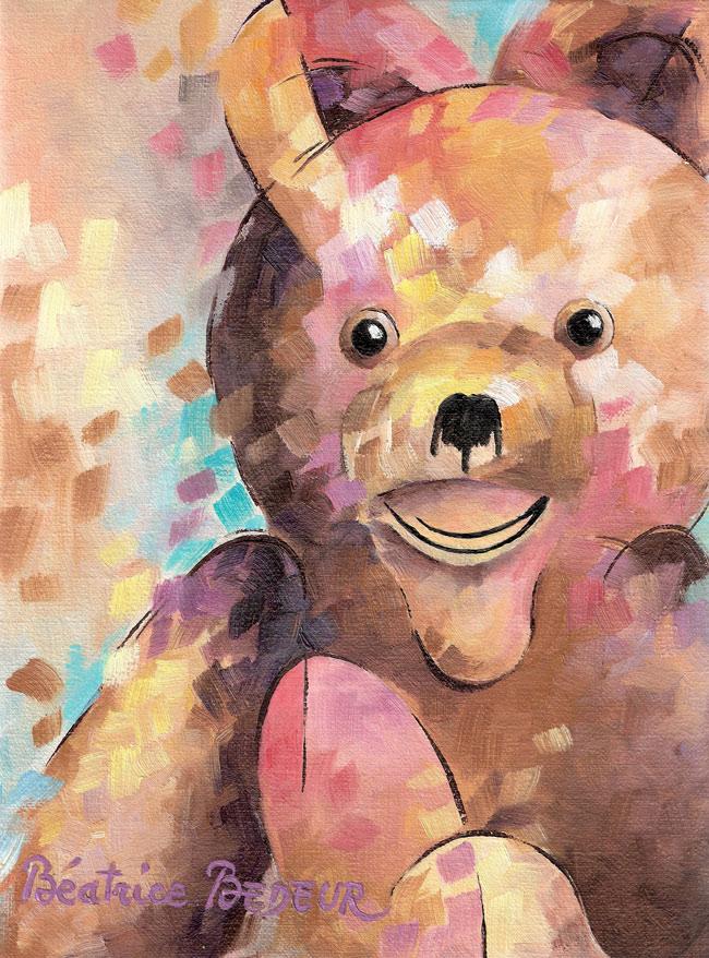 teddy-peinture-huile-doudou-enfance-childhood