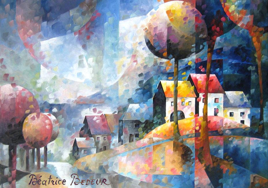 village-de-wallonie-peinture-huile-village-paysage-landscape